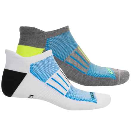 Brooks Training Day Tab Lite Socks - 2-Pack, Below the Ankle (For Men and Women) in White/Bright Blue - Closeouts