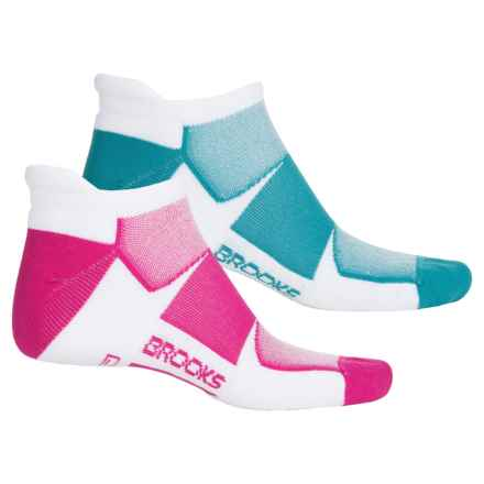Brooks Training Day Tab Lite Socks - 2-Pack, Below the Ankle (For Men and Women) in White/Carribean/Fuchsia - Closeouts