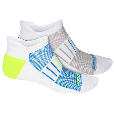 Brooks Training Day Tab Lite Socks - 2-Pack, Below the Ankle (For Men and Women) in White/Neon Yellow/White/Blue - Closeouts