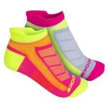 Brooks Training Day Tab Socks - 2-Pack, Ankle (For Men and Women) in Pink/Neow Yellow - Closeouts