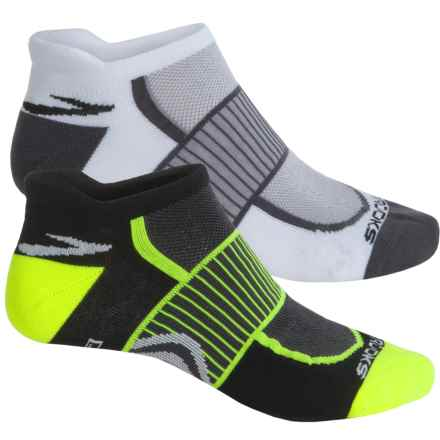 Brooks Training Day Tab Socks - 2-Pack, Below the Ankle (For Men and Women) in Black/Neon Yellow - Closeouts