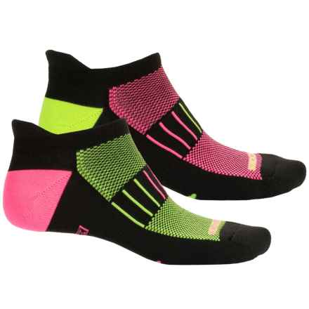 Brooks Training Day Tab Socks - 2-Pack, Quarter Crew (For Men and Women) in Black/Bahama/Neon Yellow - Closeouts