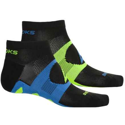 Brooks Training Day Tab Socks - 2-Pack, Quarter Crew (For Men and Women) in Black/Galaxy/Neon Yellow - Closeouts