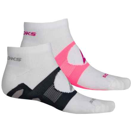 Brooks Training Day Tab Socks - 2-Pack, Quarter Crew (For Men and Women) in White/Bright Pink/White/Midnight - Closeouts