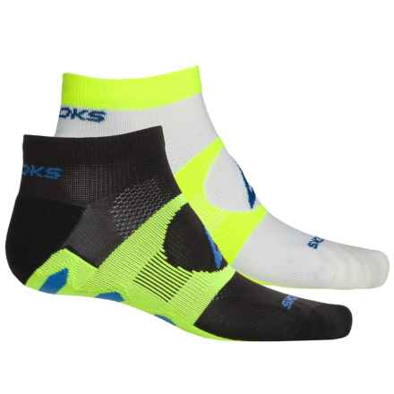 Brooks Training Day Tab Socks - 2-Pack, Quarter Crew (For Men and Women) in White/Neon Yellow/Black/Neon Yellow - Closeouts