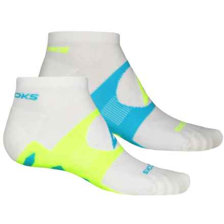 Brooks Training Day Tab Socks - 2-Pack, Quarter Crew (For Men and Women) in White/Turquoise/Neon Yellow - Closeouts