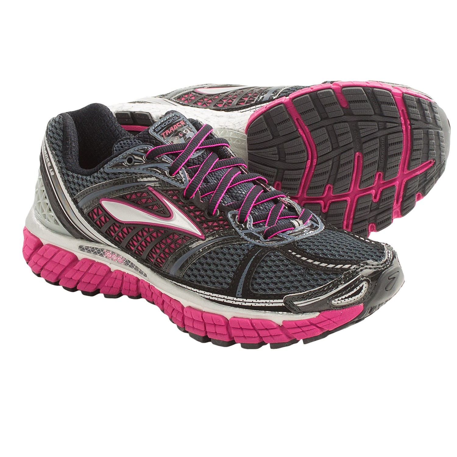 Brooks Trance 12 Running Shoes (For Women) in White/Silver/Black/Ombre