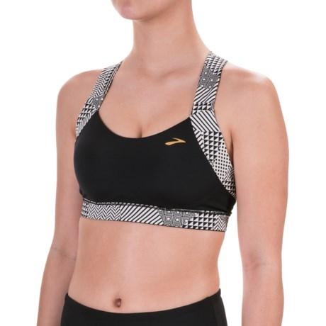 Brooks Uplift Crossback Sports Bra - Medium Impact (For Women) in Black/Black Mosaic