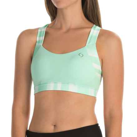 Brooks Uplift Crossback Sports Bra - Medium Impact (For Women) in Surf Scape - Closeouts
