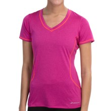 Brooks Versatile III Printed T-Shirt - Short Sleeve (For Women) in Heather Fuchsia/Poppy - Closeouts