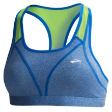 Brooks Versatile Sports Bra (For Women) in Heather Electric/Lime - Closeouts