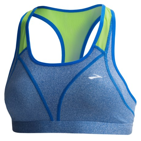 Brooks Versatile Sports Bra (For Women) in Heather Electric/Lime