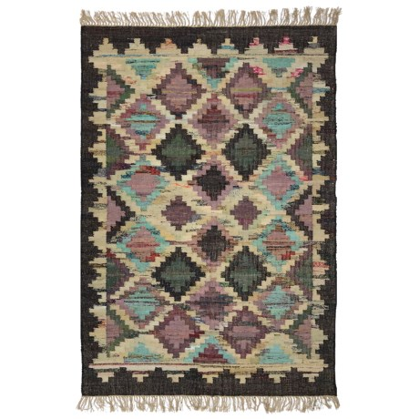 Image of Brown and Lilac Area Rug - 5x8? Cotton