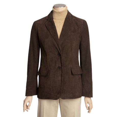 Brown Suede Blazer (For Women) in Brown