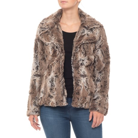 Image of Brown Textured Faux-Fur Jacket (For Women)