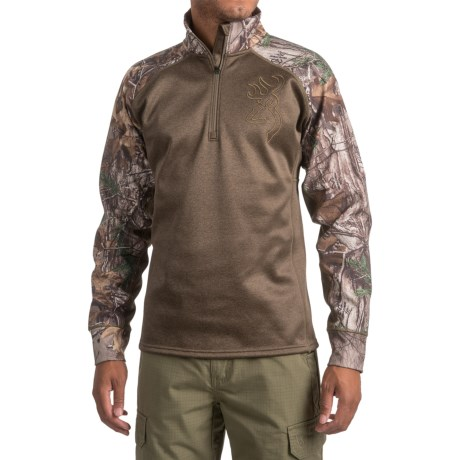 Browning Bellum Shirt - Zip Neck, Long Sleeve (For Men and Big Men) in Realtree Xtra