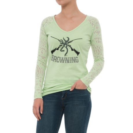 Browning Bluebell Burnout Shirt - Long Sleeve (For Women) in Cameo Green