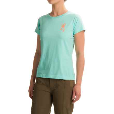Browning Buckmark Ornamental Classic T-Shirt - Short Sleeve (For Women) in Chill - Closeouts