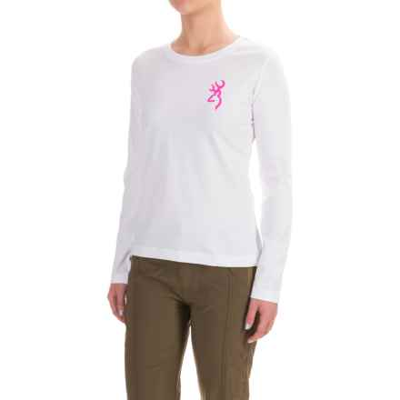 Browning Buckmark Whitetail Camo Classic T-Shirt - Crew Neck, Long Sleeve (For Women) in White/Purple Camo - Closeouts