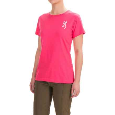 Browning Classic Fit T-Shirt - Crew Neck, Short Sleeve (For Women) in Hot Pink Camo - Closeouts