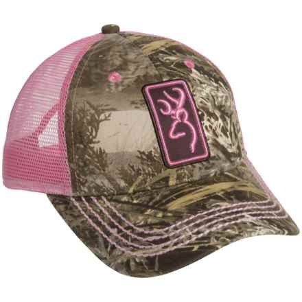 Browning Conway Mesh Back Trucker Hat (Women) in Realtree Xtra/Pink - Closeouts