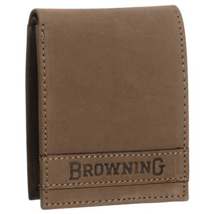 Browning Cowboy Burnished Leather Wallet (For Men) in Burnished Brown - Closeouts