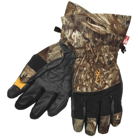 Browning Dirty Bird Gunners Gloves - Waterproof (For Men) in Mossy Oak Duck Blind
