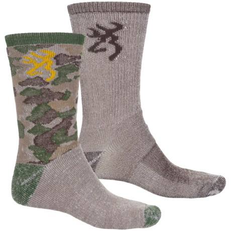 Browning Everyday Wool Camo Hiking Socks - 2-Pack, Crew (For Men) in Woodlands/Coffee Bean
