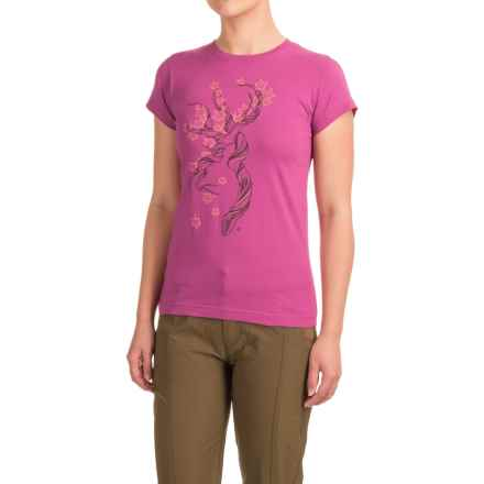 Browning Fall Tree Buckmark Fitted T-Shirt - Crew Neck, Short Sleeve (For Women) in Plum/Multi - Closeouts