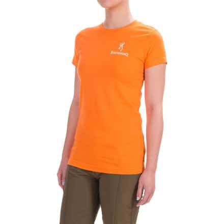 Browning Fitted T-Shirt - Crew Neck, Short Sleeve (For Women) in Tangerine/White - Closeouts
