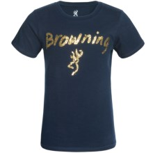 Browning Foil T-Shirt - Short Sleeve (For Little and Big Girls) in Navy - Closeouts