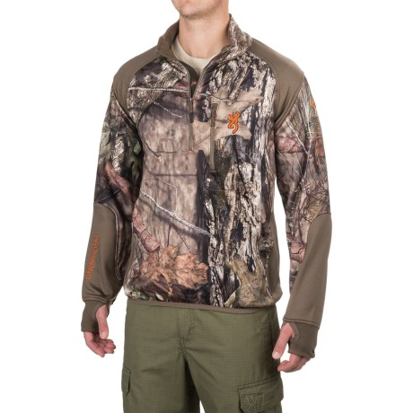 Browning Hell's Canyon High-Performance Fleece Jacket - Zip Neck (For Men) in Mossy Oak Break Up Country