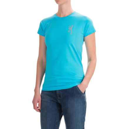 Browning Jewel Buckmark Fitted T-Shirt - Short Sleeve (For Women) in Aqua - Closeouts