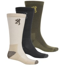 Browning Lightweight Socks - Crew, 3-Pack (For Men) in Black/Olive/Natural - Closeouts