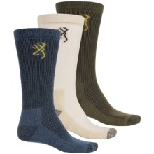 Browning Lightweight Socks - Crew, 3-Pack (For Men) in Natural/Olive/Blue - Closeouts