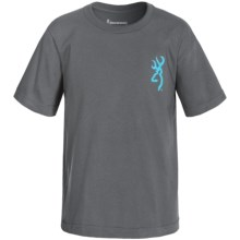 Browning Printed T-Shirt - Short Sleeve (For Little and Big Boys) in Charcoal Buckmark Stripe - Closeouts