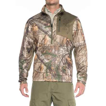 Browning Quick Change Fleece Shirt - Zip Neck, Long Sleeve (For Men) in Realtree Xtra - Closeouts