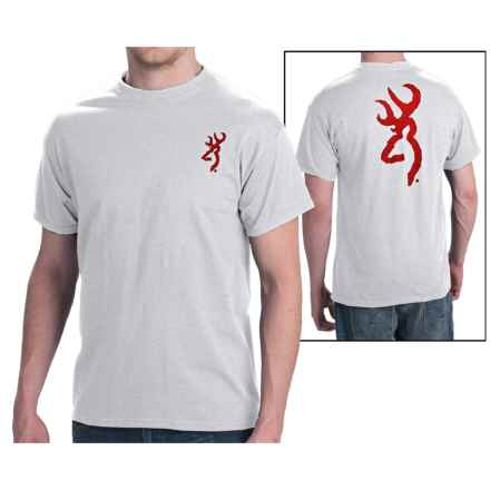 Browning SST Custom Buckmark T-Shirt - Short Sleeve (For Men) in Heather Grey W/Red Buckmark - Closeouts