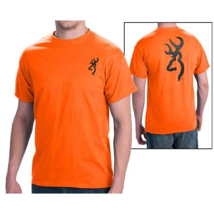 Browning SST Custom Buckmark T-Shirt - Short Sleeve (For Men) in Safety Orange W/Black Buckmark - Closeouts