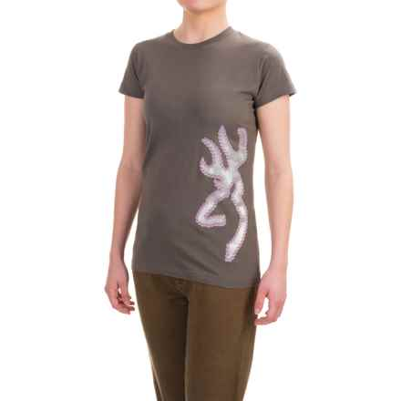 Browning Studded Buckmark Fitted T-Shirt - Crew Neck, Short Sleeve (For Women) in Charcoal/Multi - Closeouts