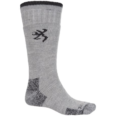 Browning Sycamore Hiking Socks - Wool Blend, Crew (For Men) in Gray/Black