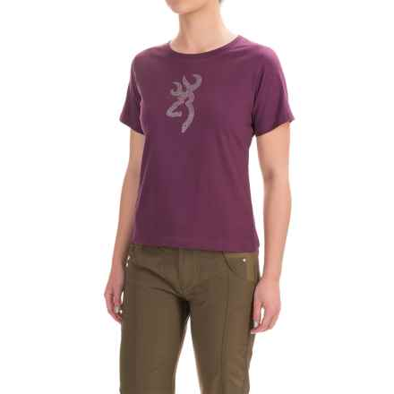 Browning True Bling Classic T-Shirt - Crew Neck, Short Sleeve (For Women) in Eggplant - Closeouts