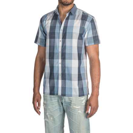 Bruno Buffalo Plaid Chambray Button-Up Shirt - Short Sleeve (For Men) in Blue - Closeouts