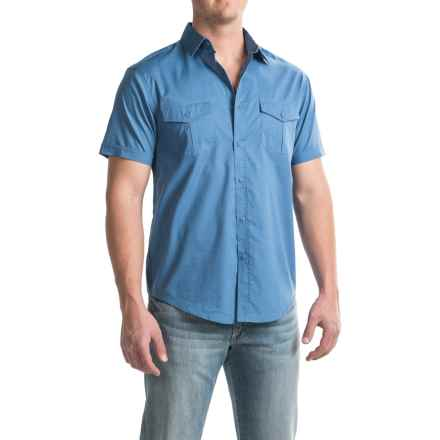 Bruno Button-Down Pilot Shirt - Short Sleeve (For Men) in Blue Stone - Closeouts
