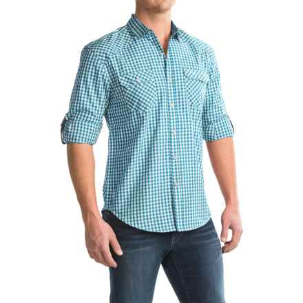 Bruno Gingham Button-Up Shirt - Long Sleeve (For Men) in Teal - Closeouts