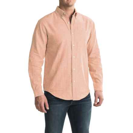 Bruno Linen-Blend Button-Up Shirt - Long Sleeve (For Men) in Melon - Closeouts