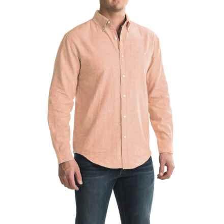 Bruno Linen-Blend Button-Up Shirt - Long Sleeve (For Men) in Melon - Closeouts
