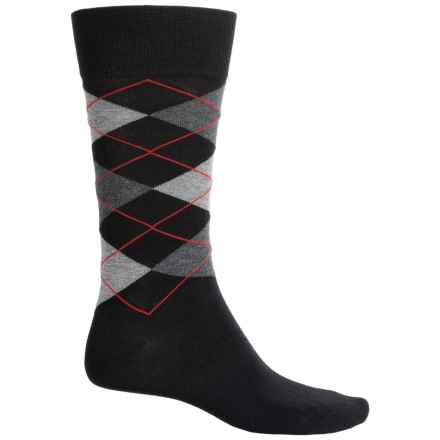 Bruno Magli Argyle Socks - Crew (For Men) in Black - Closeouts