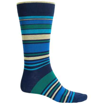 Bruno Magli Striped Socks - Crew (For Men) in Black - Closeouts