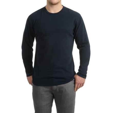 Brushed Crew Neck Shirt - Long Sleeve (For Men) in Midnight Indigo - 2nds